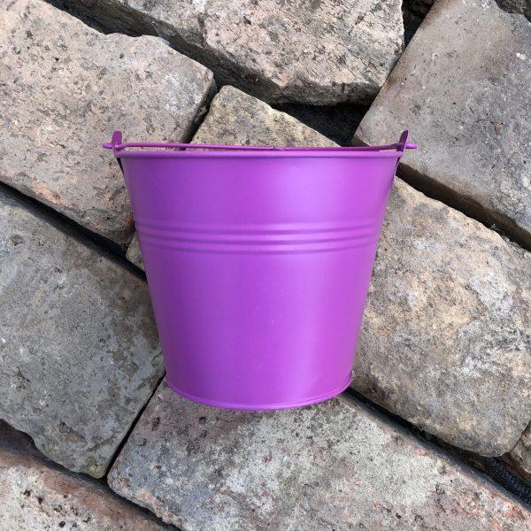 Fém vödör 14 cm matt pink